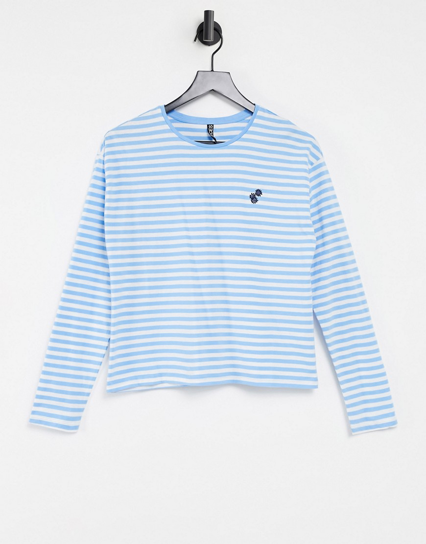 Pieces long sleeve t-shirt in blue stripe