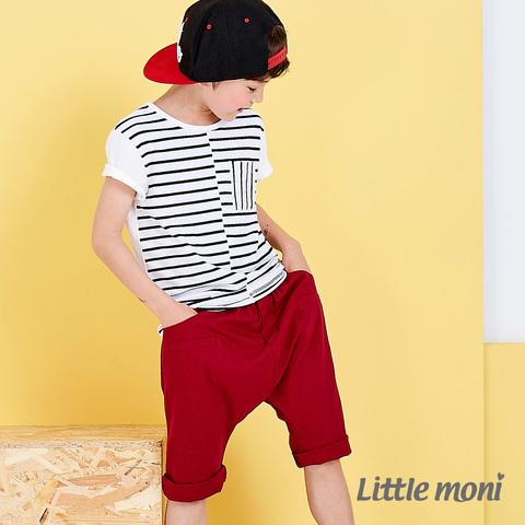 Little moni 夏日舒適棉麻感五分哈倫褲(紅色)