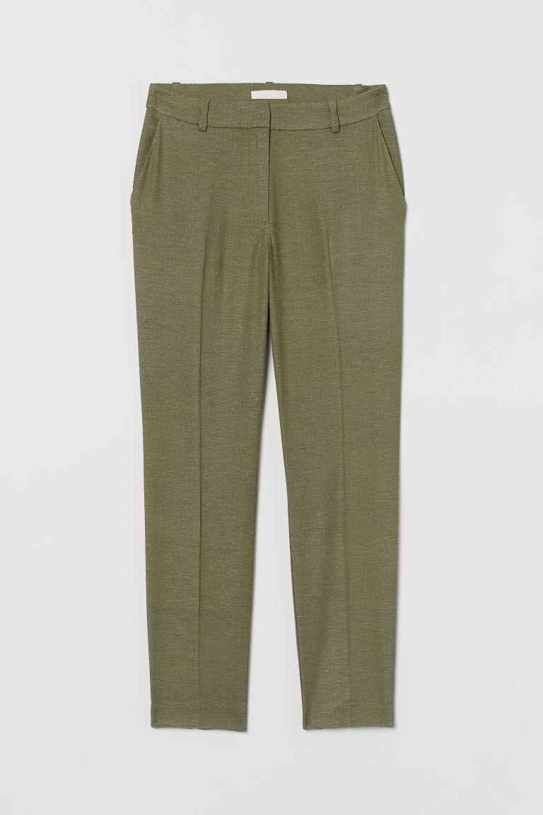 H & M - 亞麻混紡煙管褲 - 綠色