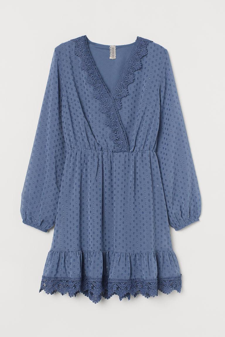 H & M - 蕾絲裝飾薄紗圓點洋裝 - 藍色