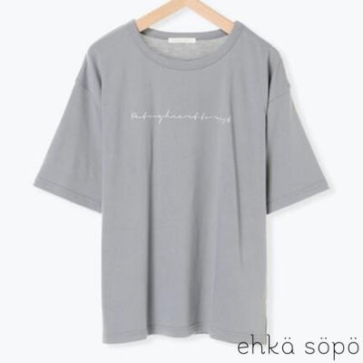 ehka sopo 草寫標語設計圓領落肩短袖T恤