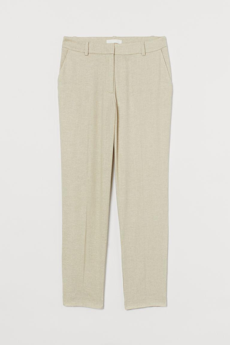 H & M - 亞麻混紡煙管褲 - 米黃色