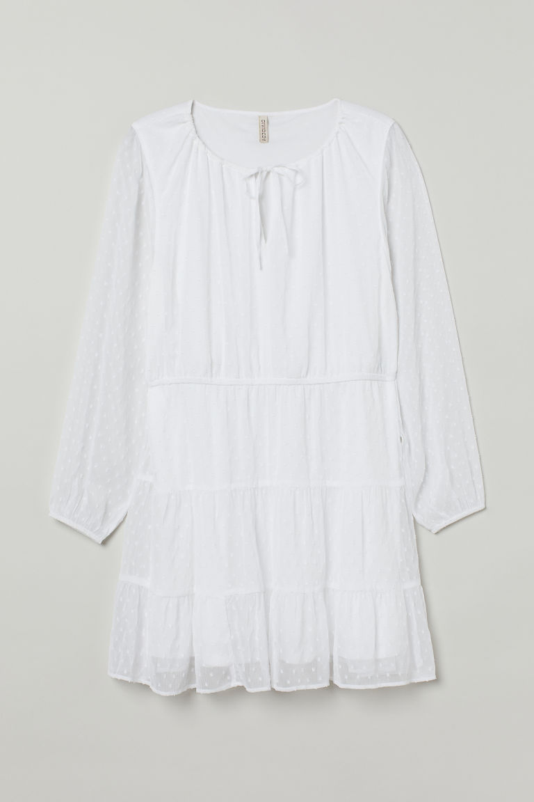 H & M - H & M+ 雪紡洋裝 - 白色