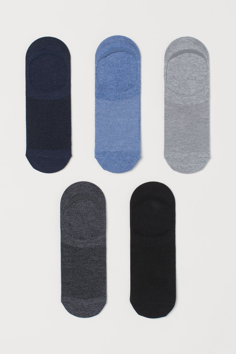 H & M - 5雙入COOLMAX®纖維襪 - 藍色