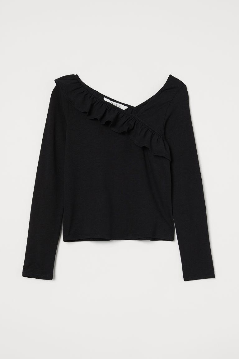 H & M - 荷葉邊平紋上衣 - 黑色