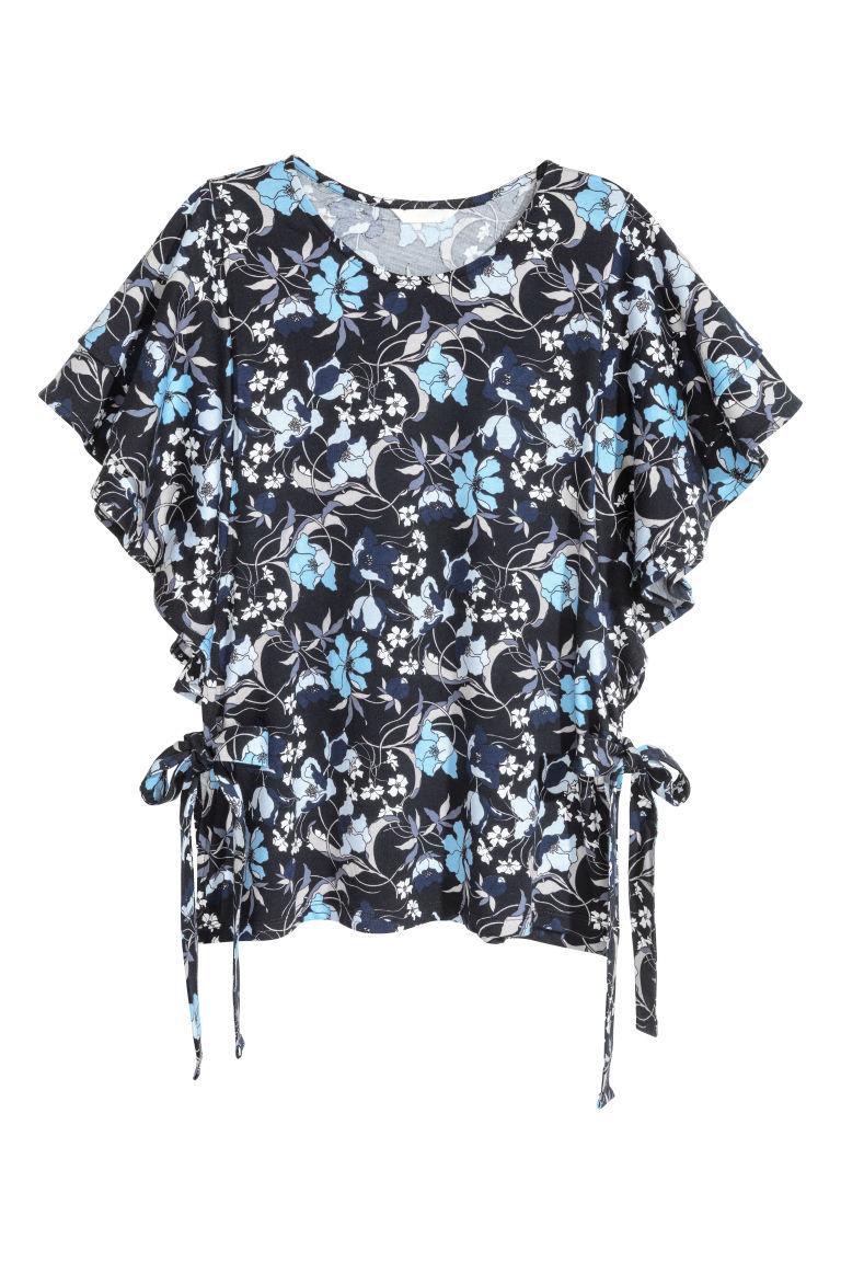 H & M - 平紋荷葉袖上衣 - 藍色