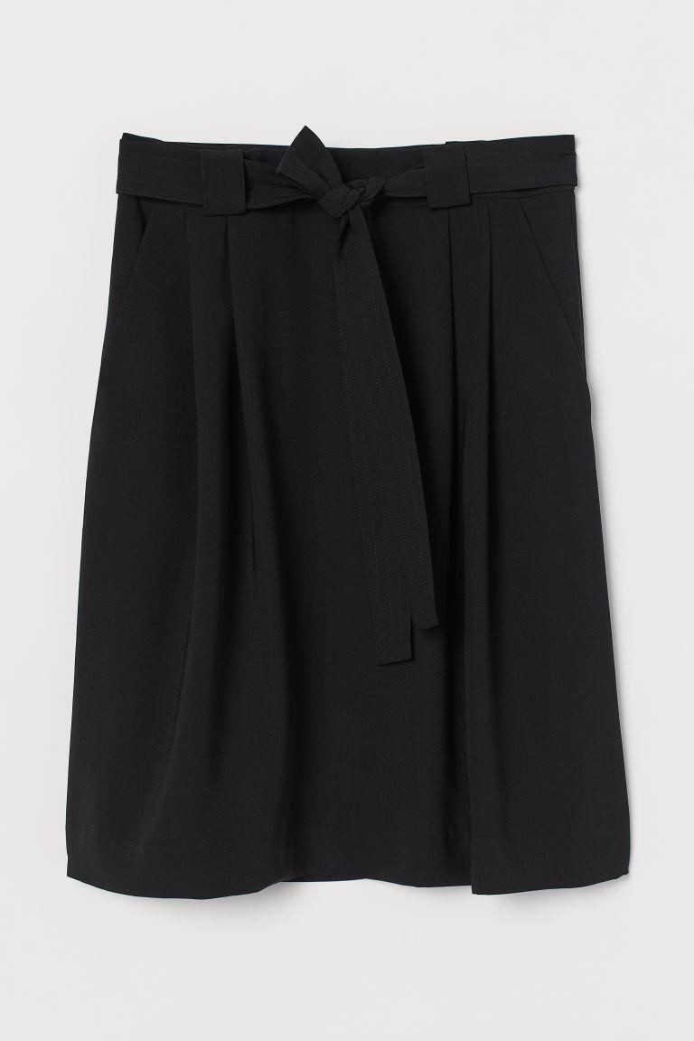 H & M - 綁帶短裙 - 黑色