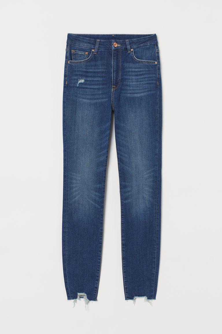 H & M - 服貼高腰九分牛仔褲 - 藍色