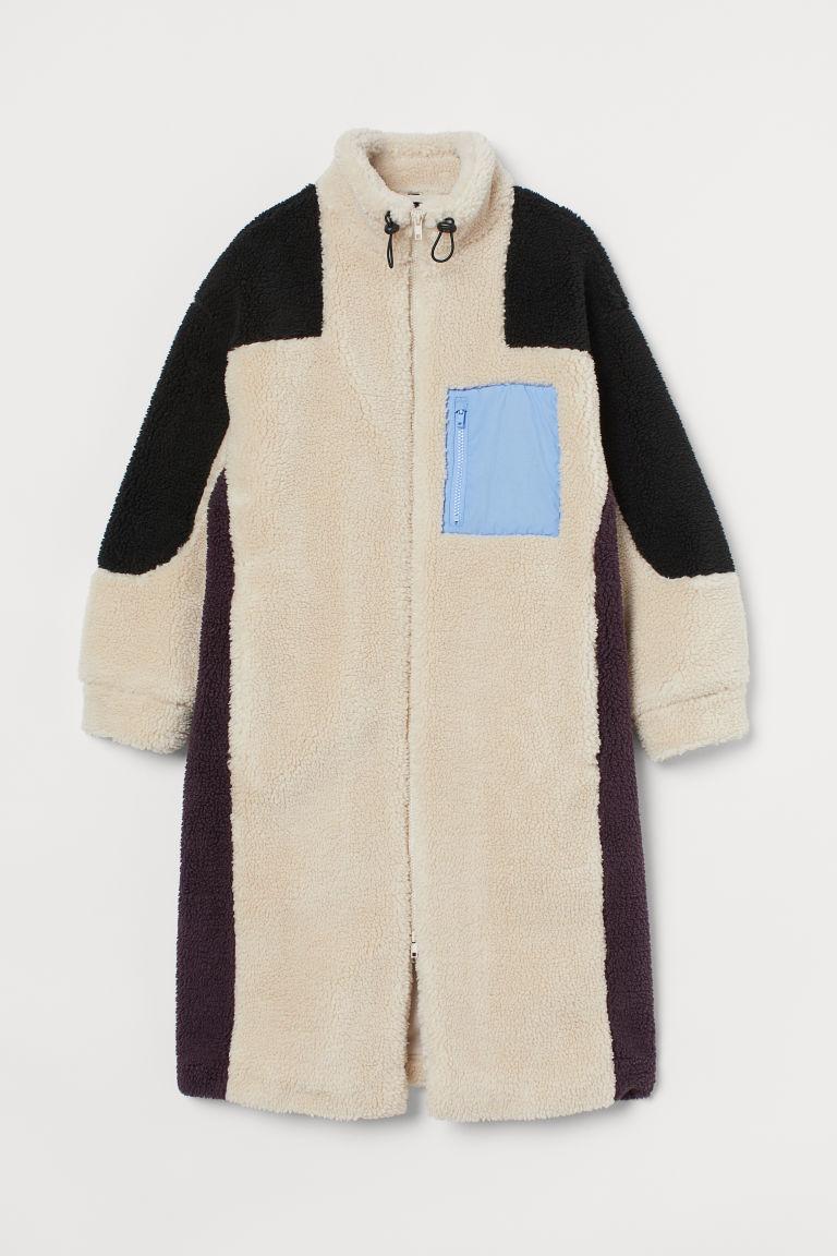 H & M - 拼色仿綿羊大衣 - 米黃色