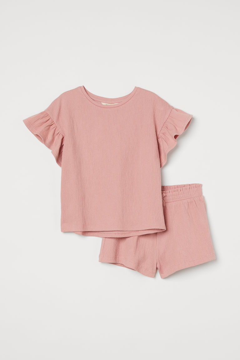 H & M - 褶縐套裝 - 粉紅色
