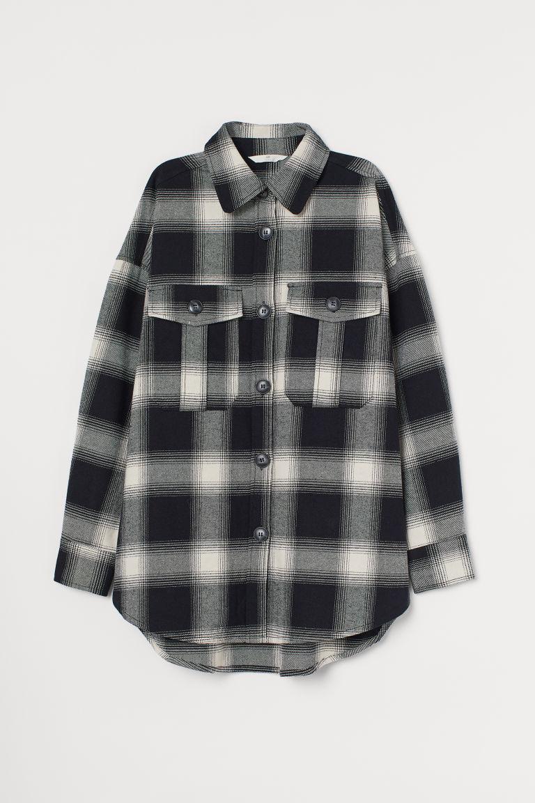 H & M - 棉質法蘭絨襯衫 - 黑色