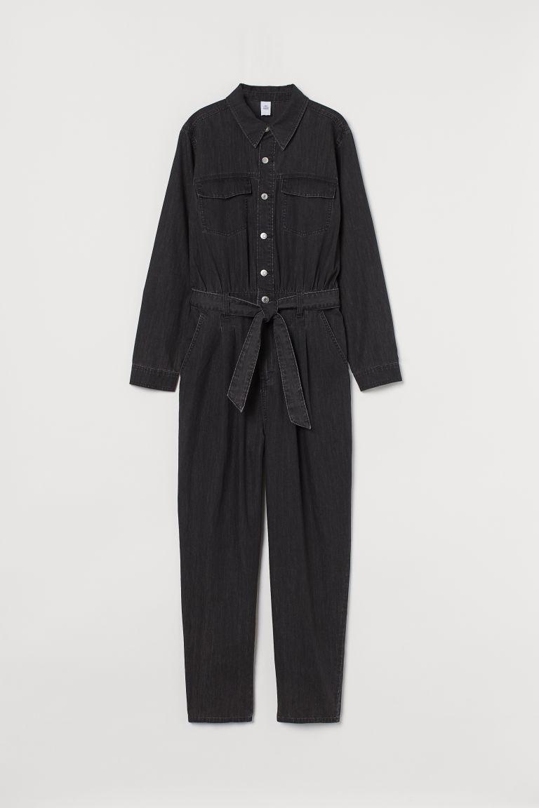 H & M - 丹寧連身工作服 - 黑色