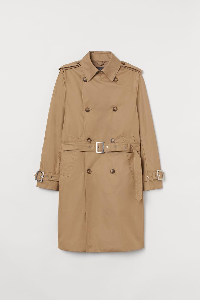 H & M - 棉質斜紋風衣 - 米黃色