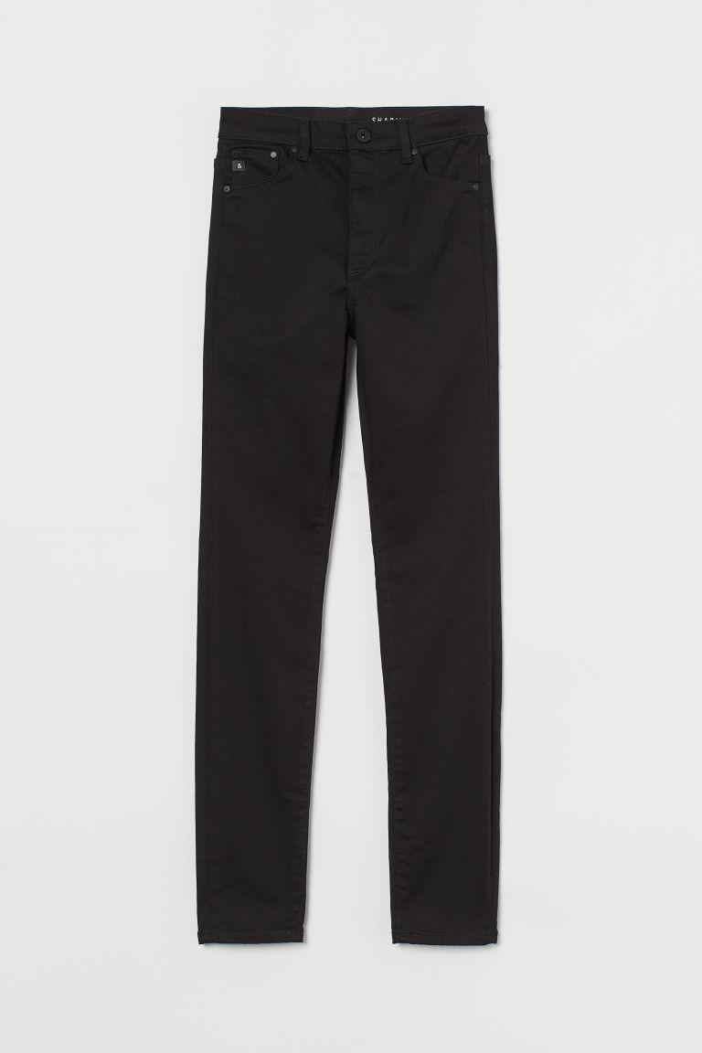 H & M - 塑身高腰牛仔褲 - 黑色