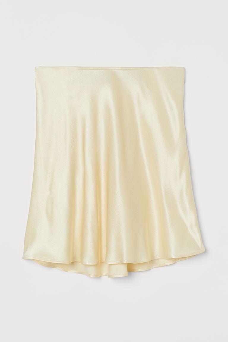 H & M - 綢緞短裙 - 黃色