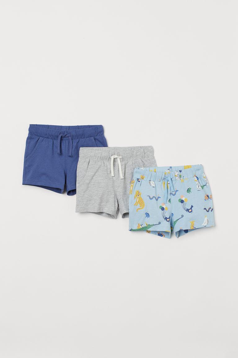 H & M - 3件入平紋短褲 - 藍色