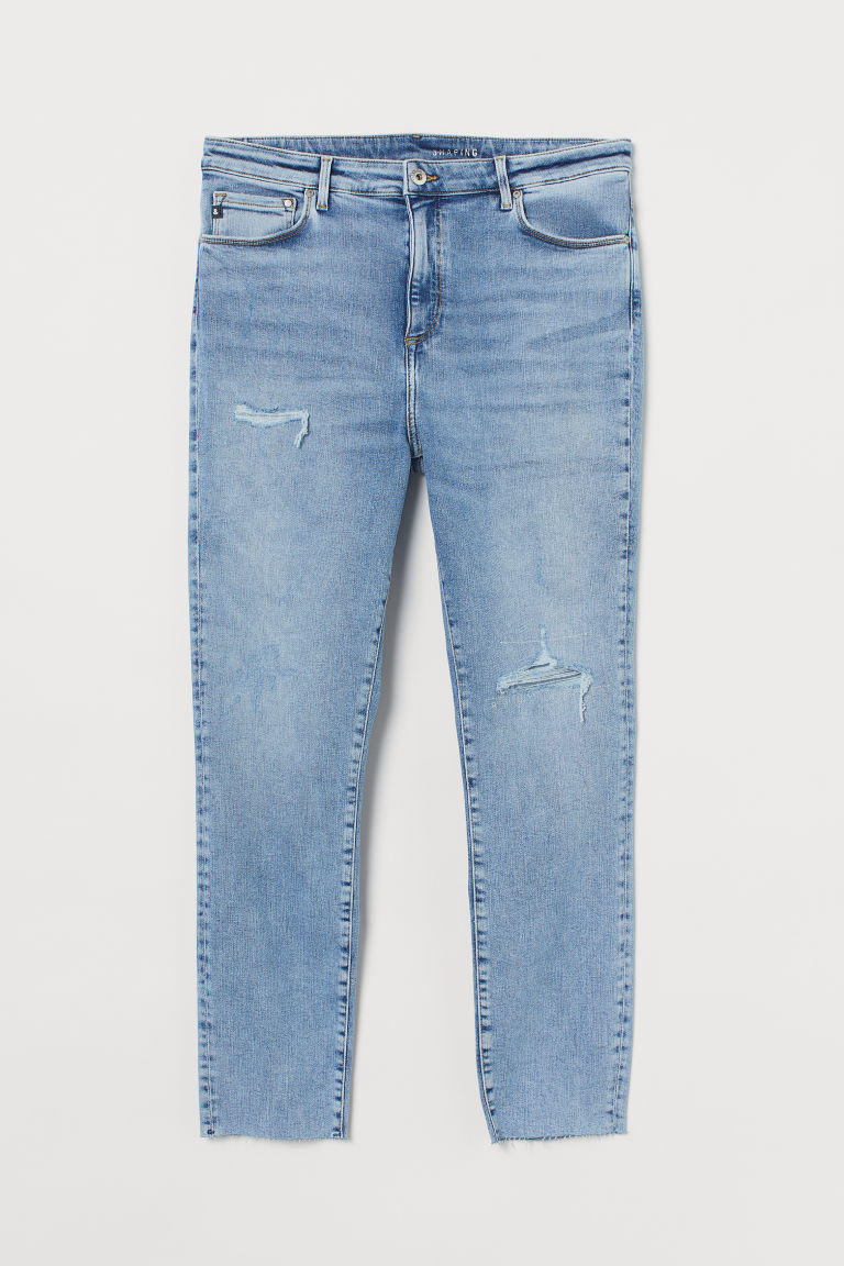 H & M - H & M+ 塑身高腰九分牛仔褲 - 藍色