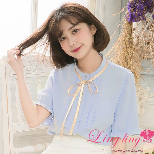 lingling A4132-01淡雅氣質圓領全開釦領綁帶滑布荷葉束口袖短袖襯衫上衣(淡雅藍)