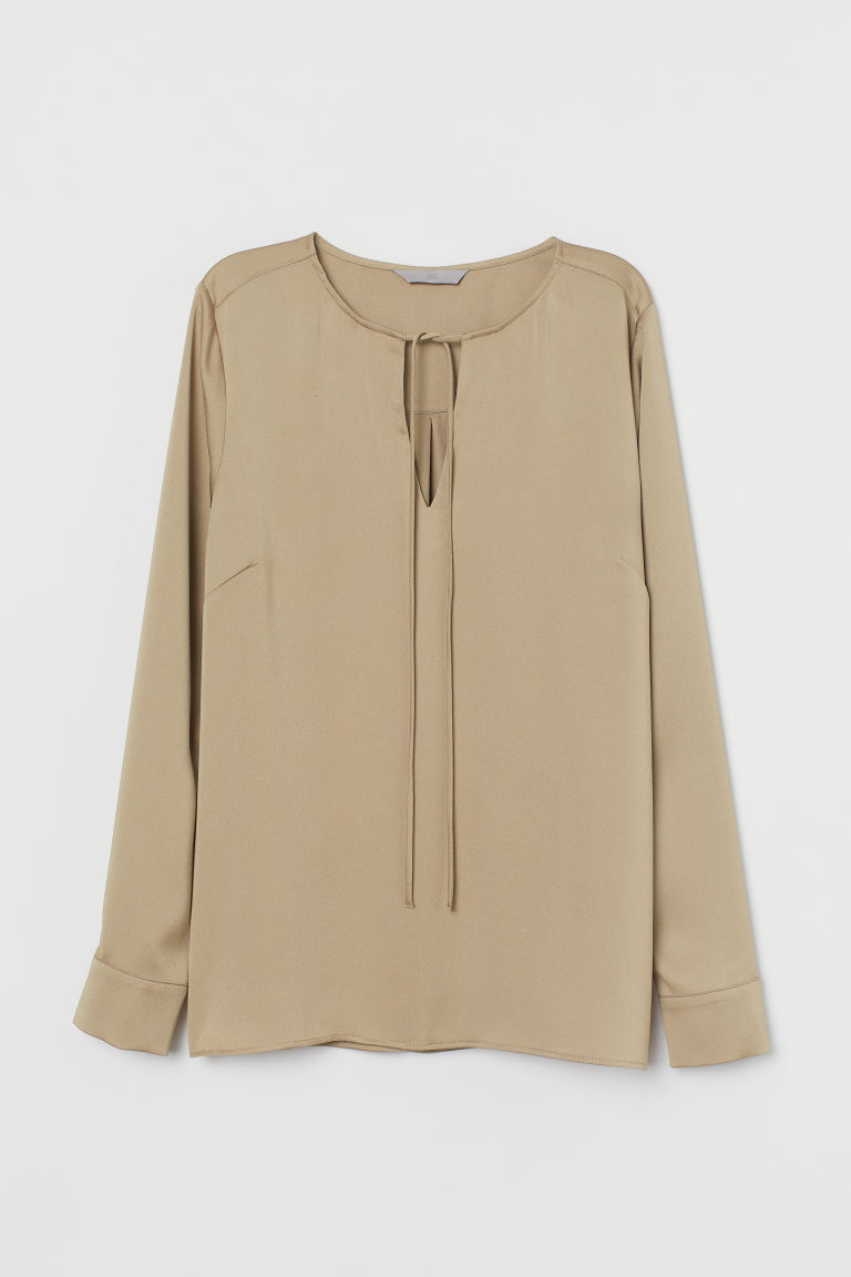 H & M - 綁帶女衫 - 米黃色