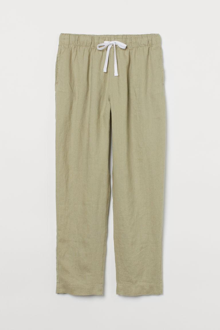 H & M - 亞麻慢跑褲 - 綠色