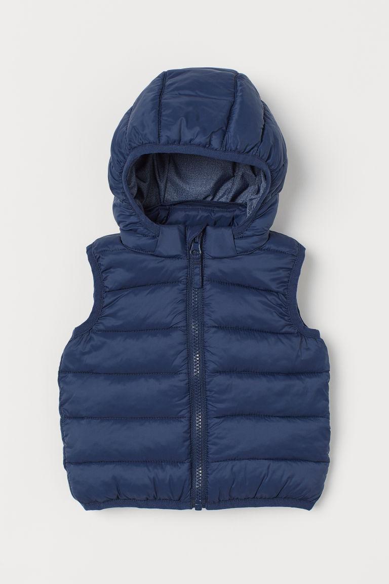 H & M - 連帽鋪棉背心 - 藍色