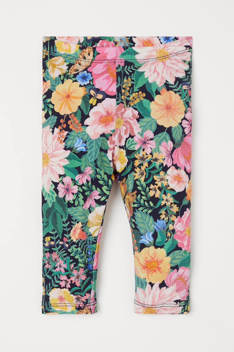 H & M - 花朵內搭褲 - 藍色