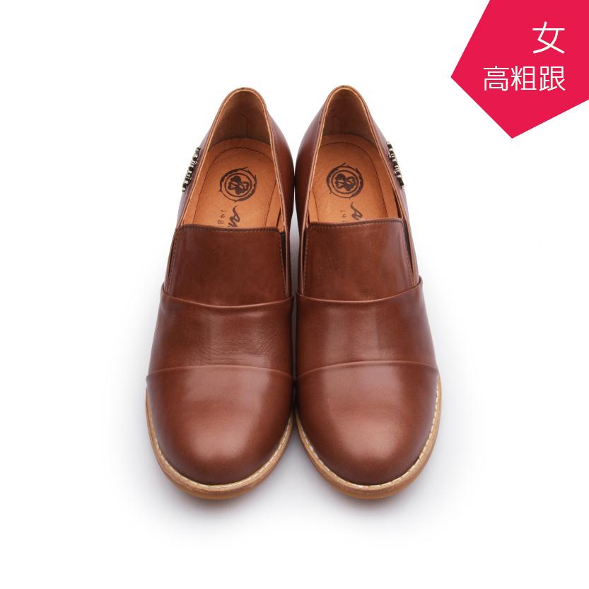 【A.MOUR 經典手工鞋】淑女高跟裸靴 - 咖(7801)
