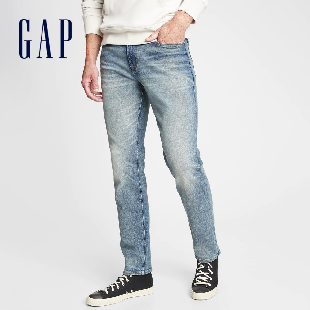 Gap 男裝 淺色水洗中腰五袋牛仔褲 604054-藍色