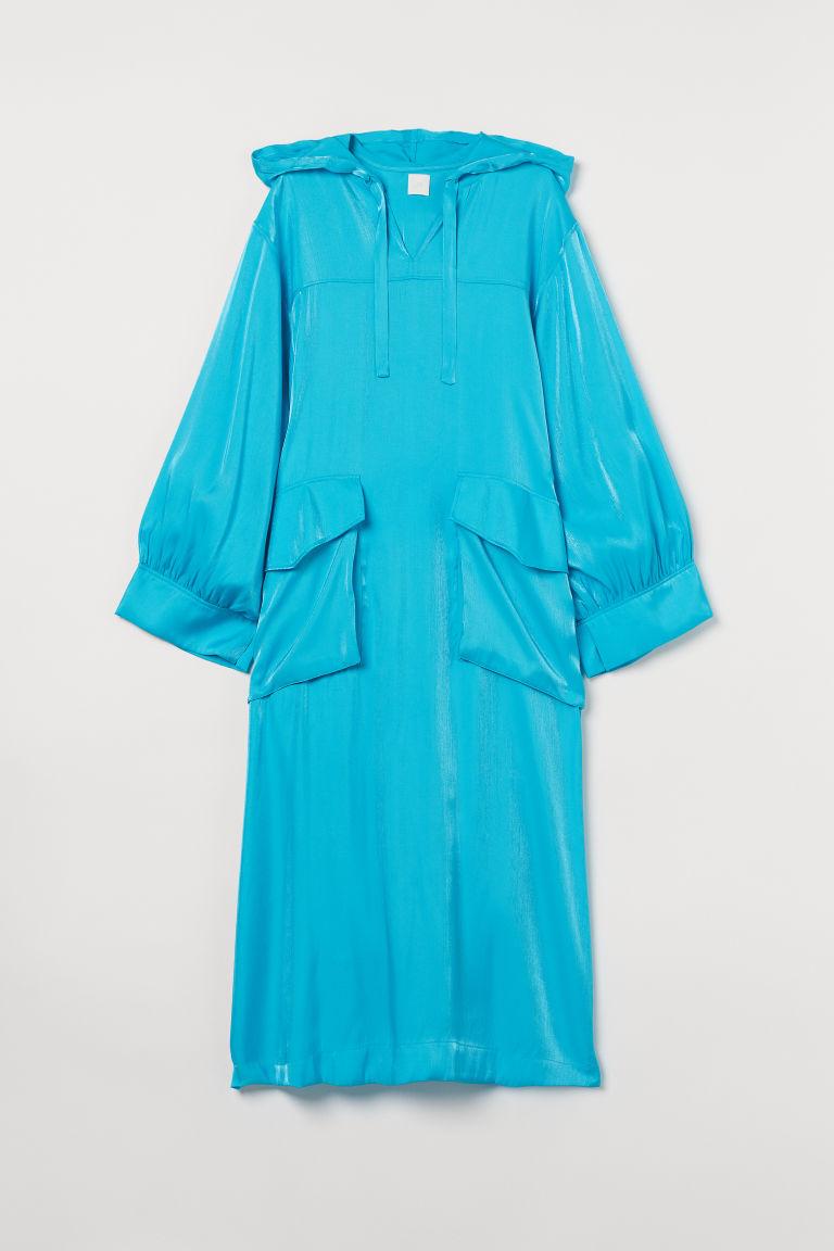 H & M - 連帽卡弗坦長衫 - 藍綠色