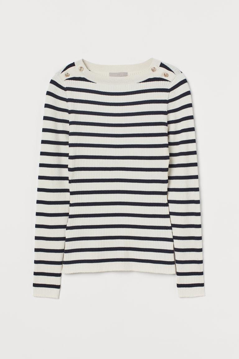 H & M - 羅紋針織套衫 - 藍色