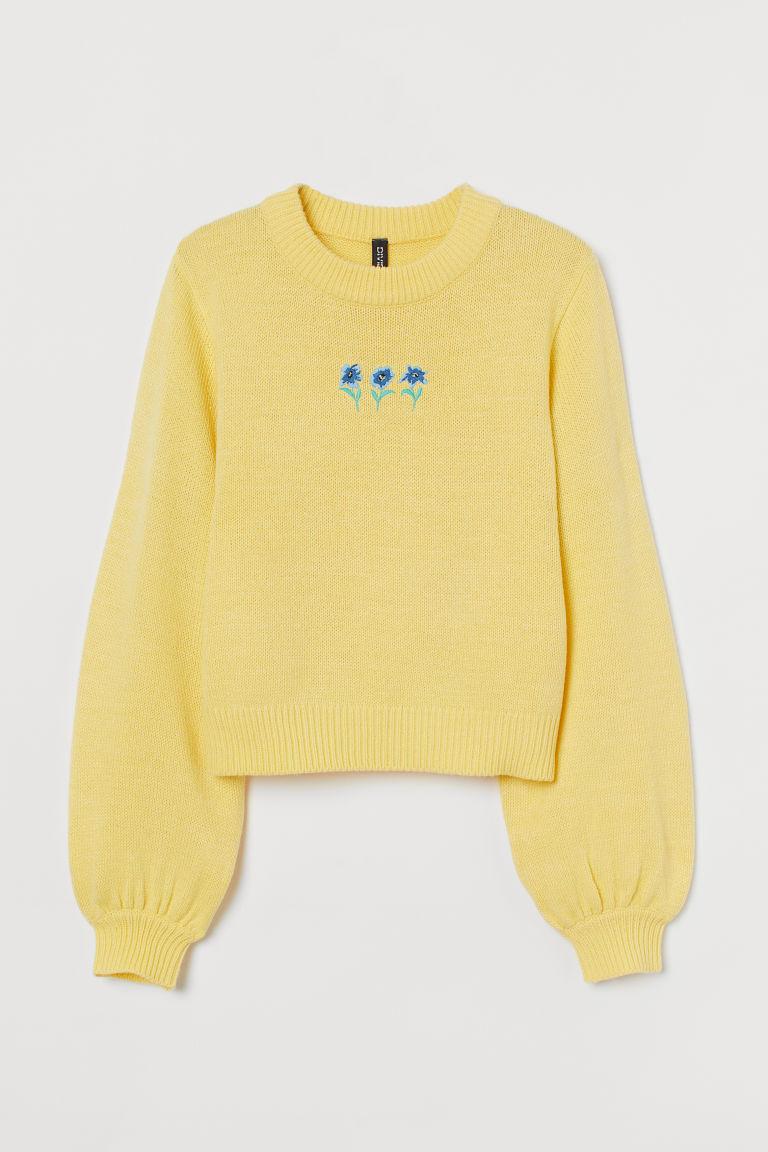 H & M - 刺繡套衫 - 黃色