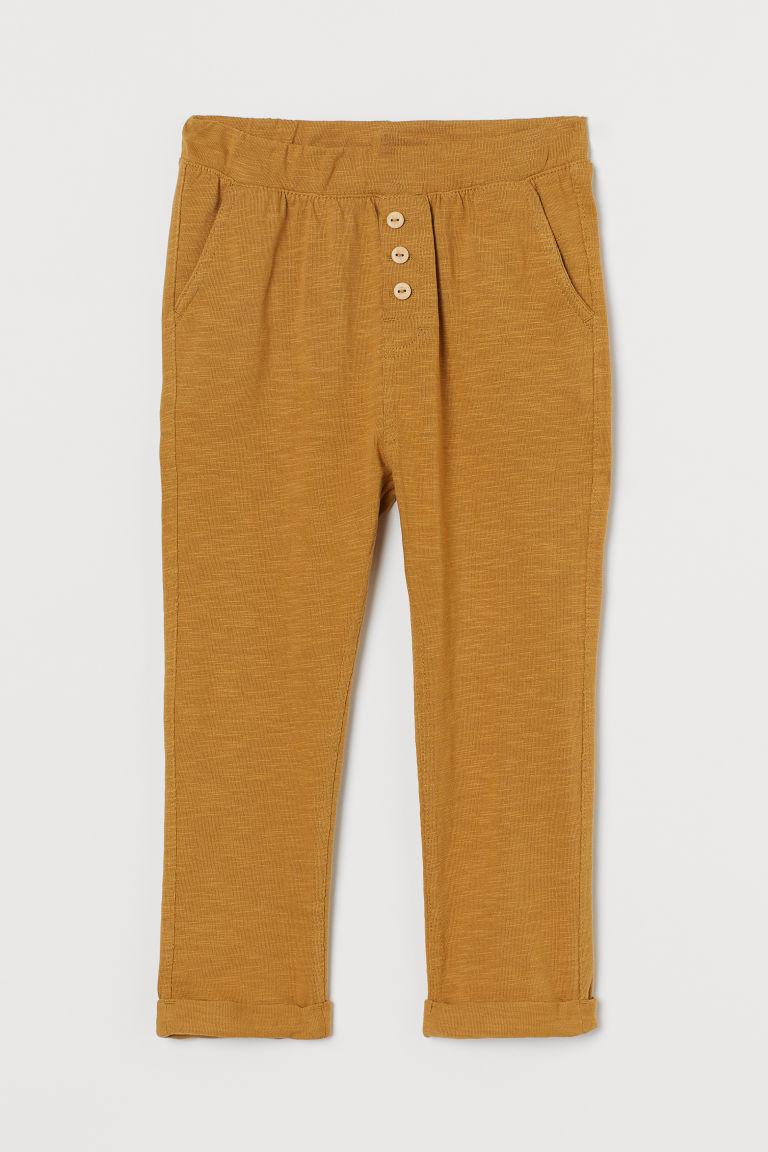 H & M - 粗紡平紋長褲 - 黃色