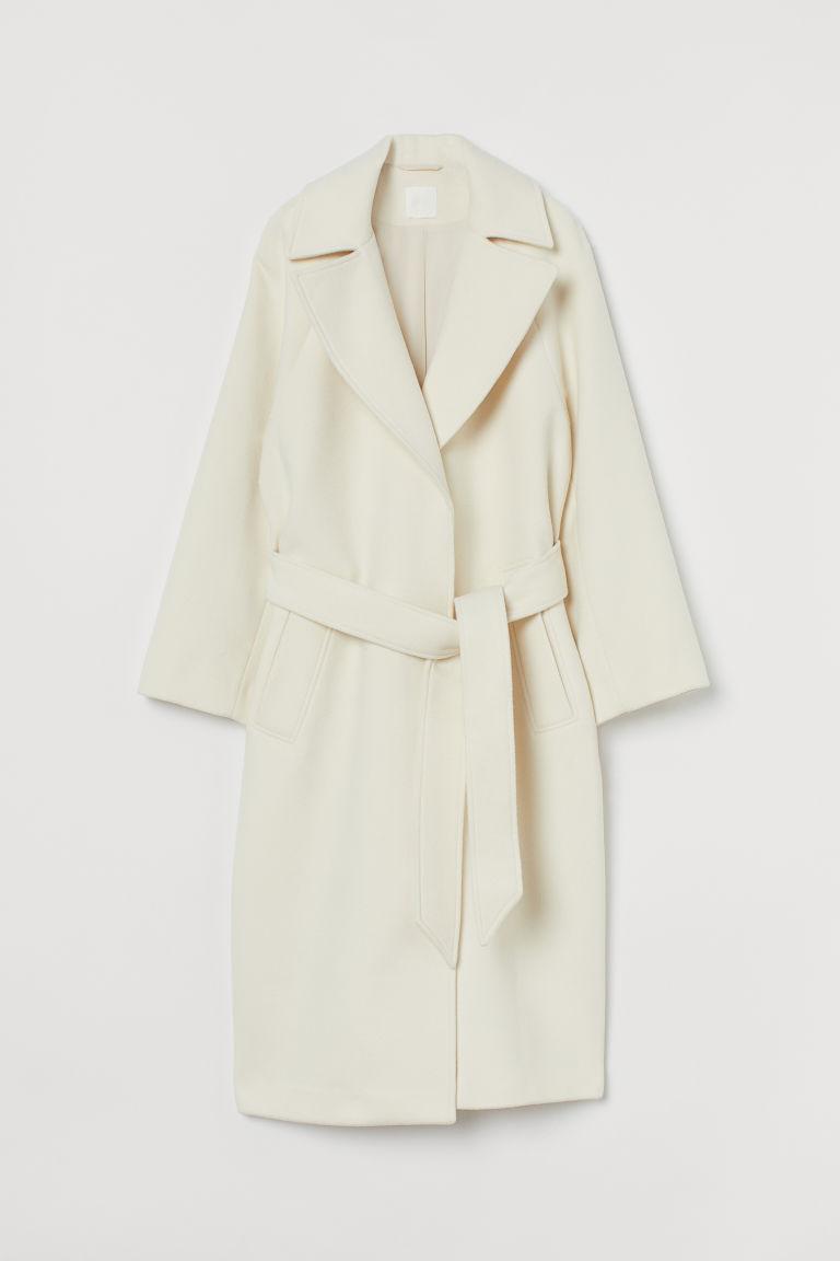 H & M - 綁帶毛氈大衣 - 白色