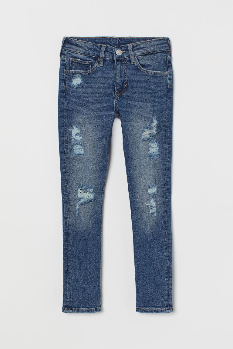 H & M - 窄管刷破牛仔褲 - 藍色