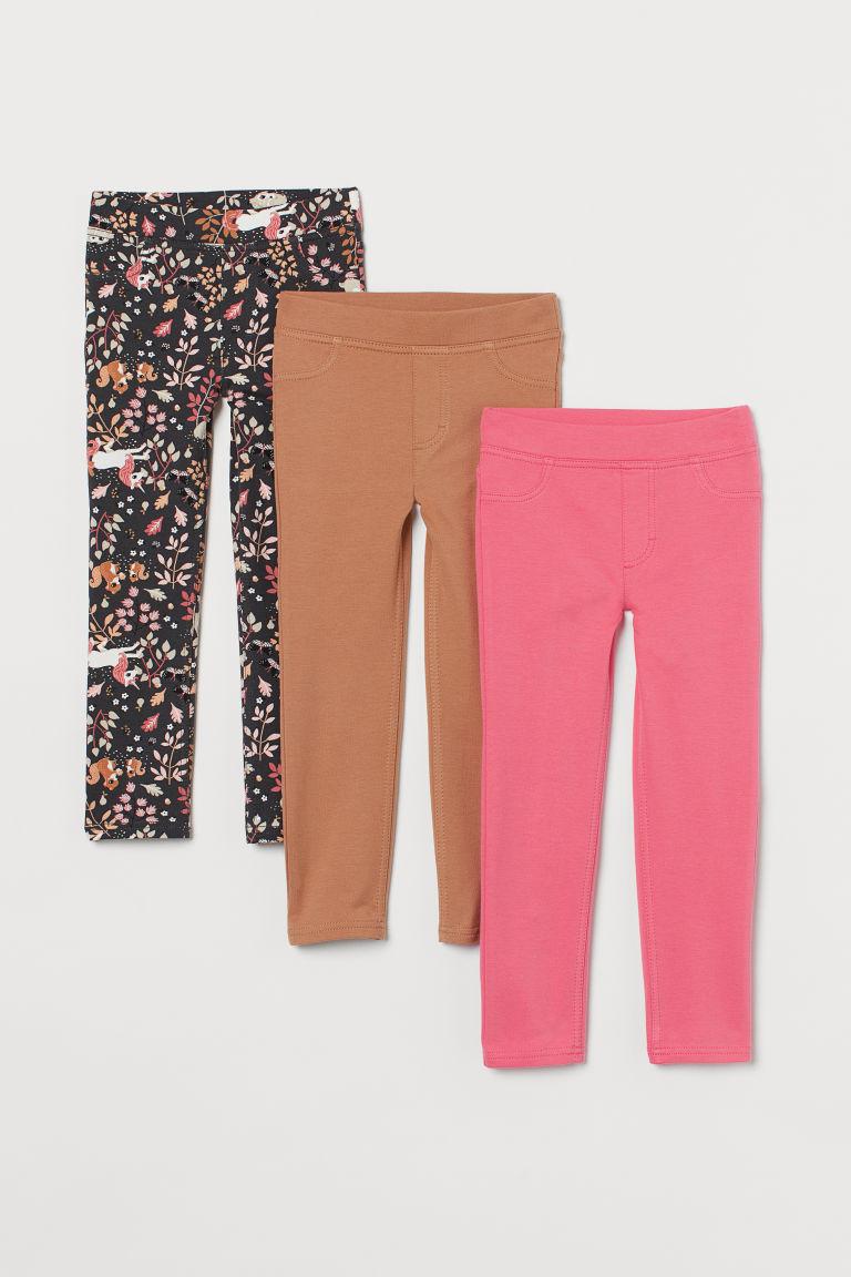 H & M - 3件入緊身褲 - 粉紅色