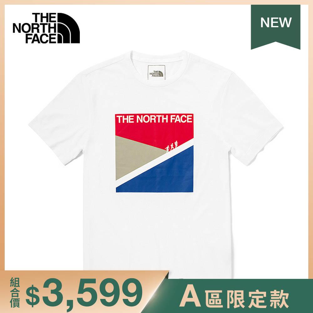 The North Face北面男款白色吸濕排汗時尚印花短袖T恤|4UAKFN4
