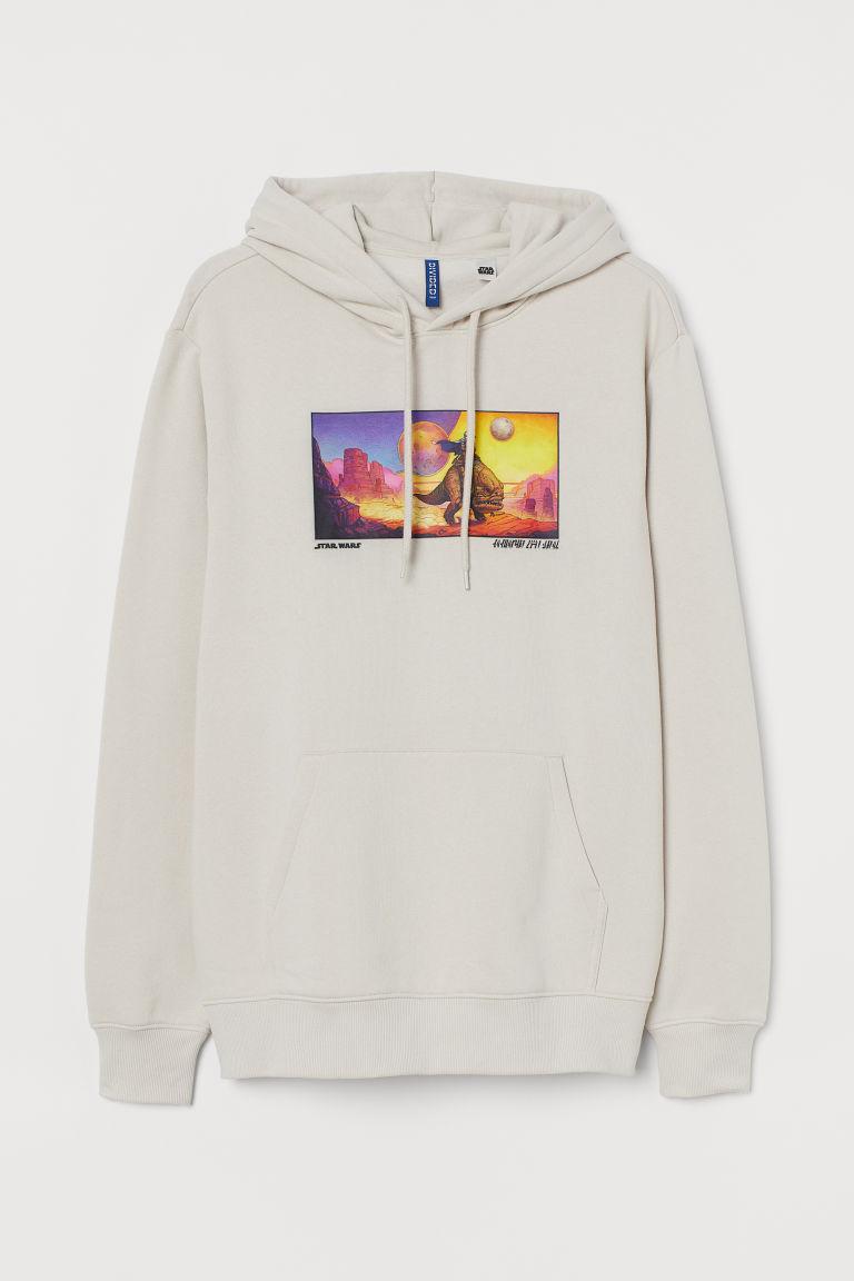 H & M - 圖案連帽上衣 - 米黃色
