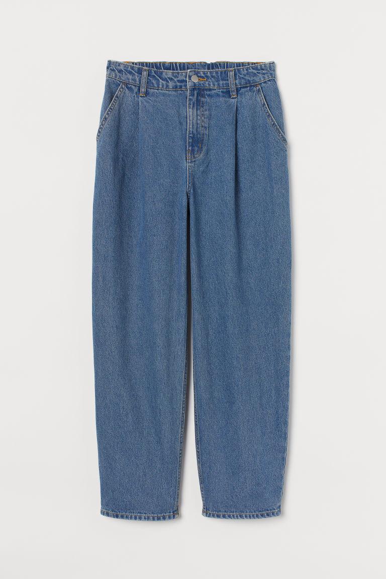 H & M - 斜紋寬管褲 - 藍色