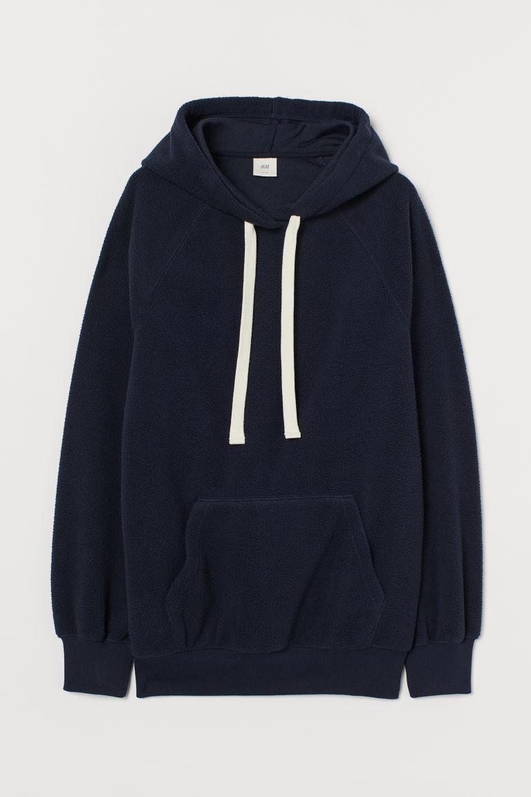 H & M - 絨毛連帽上衣 - 藍色