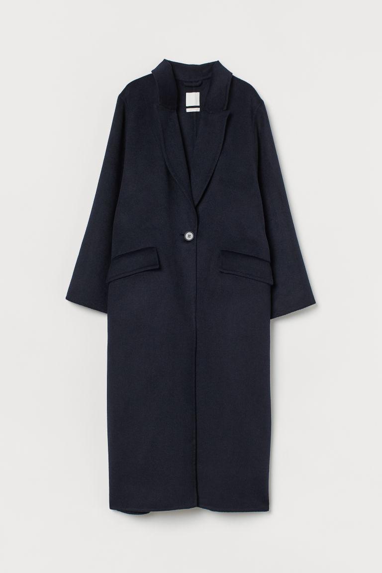 H & M - 加大碼羊毛混紡大衣 - 藍色