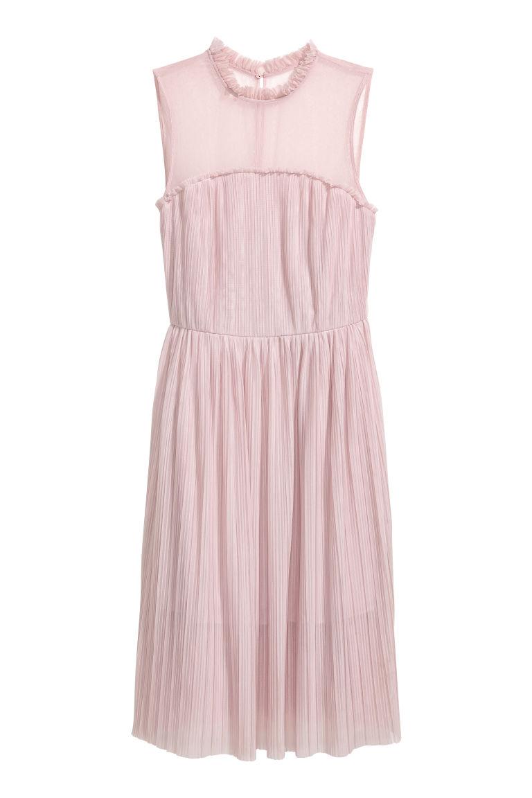 H & M - H & M+ 網紗百褶洋裝 - 粉紅色