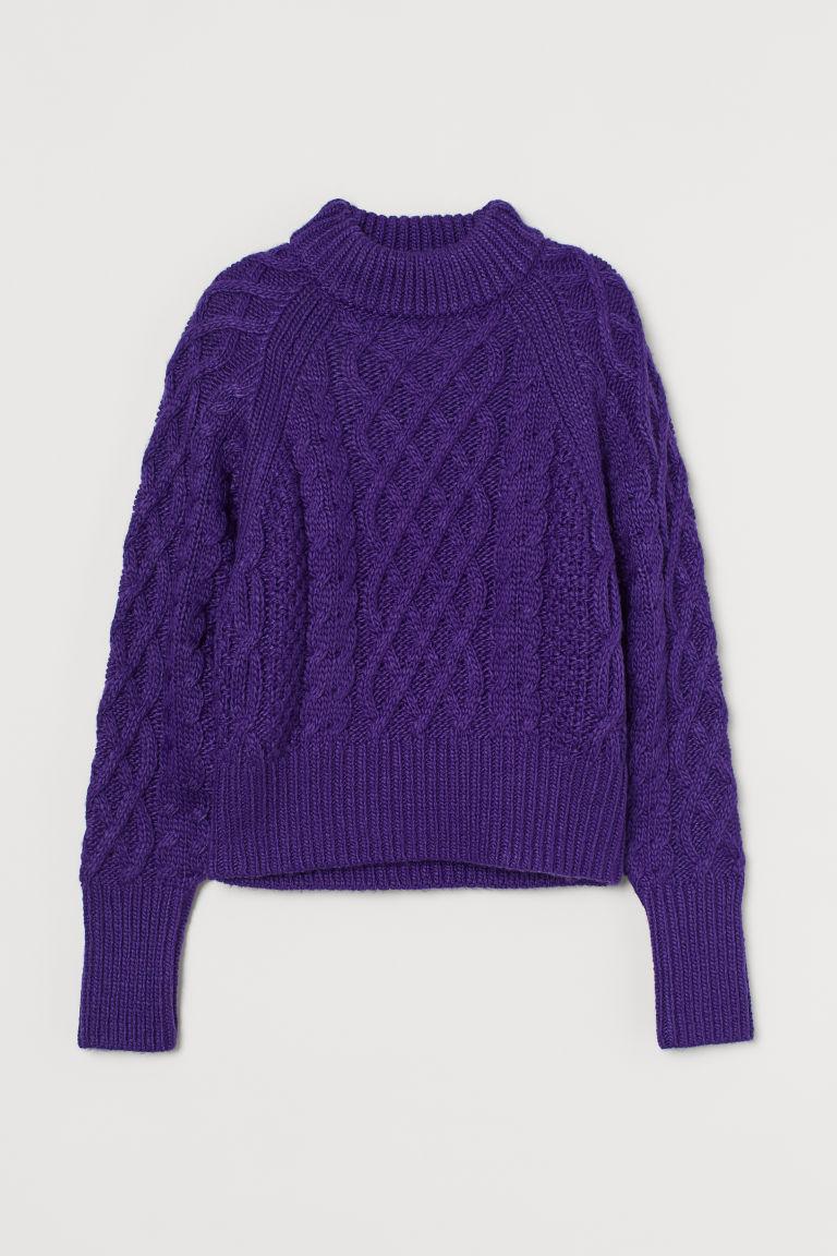 H & M - 絞花針織套衫 - 紫色