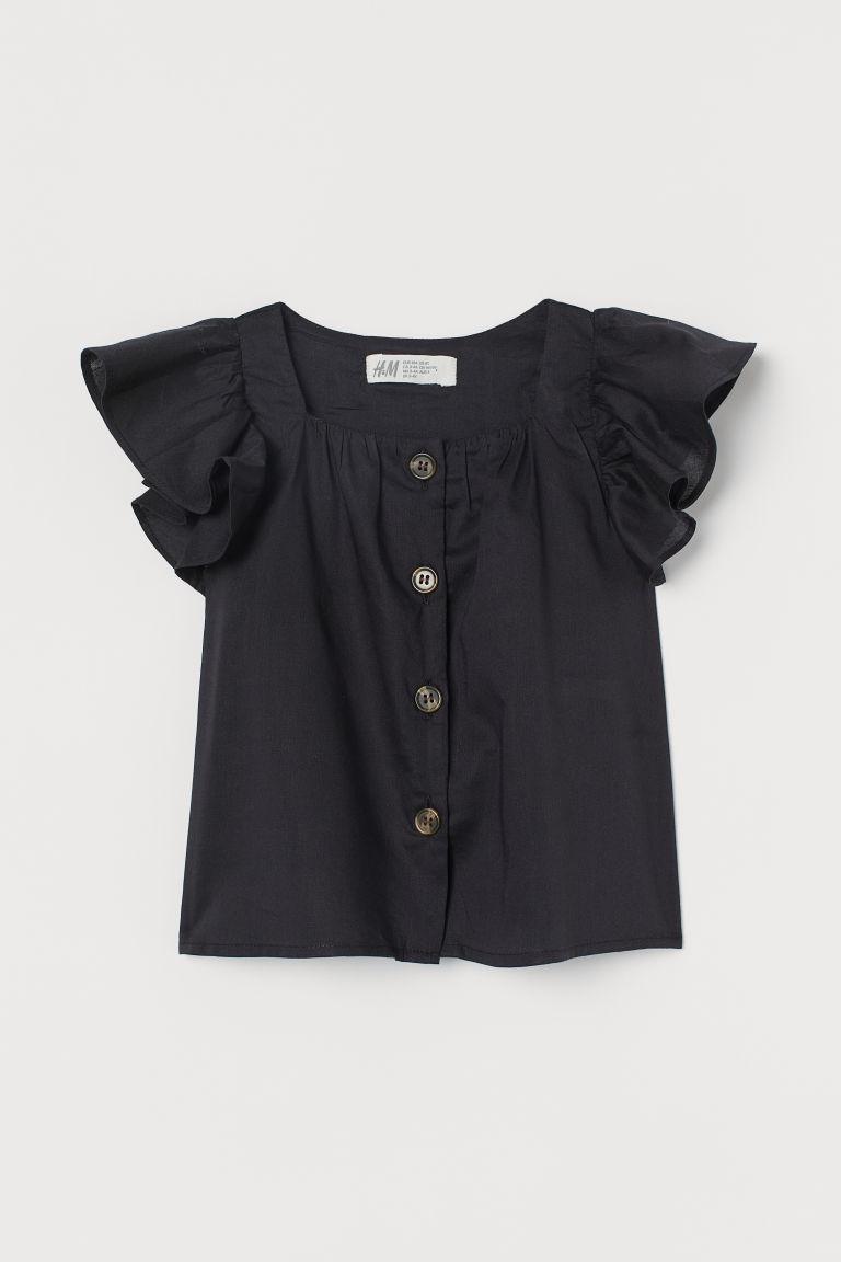 H & M - 棉質混紡女衫 - 黑色