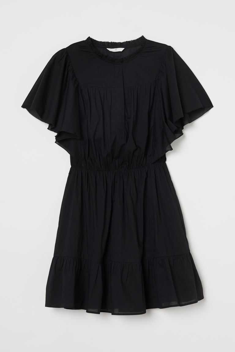 H & M - 蝴蝶袖洋裝 - 黑色