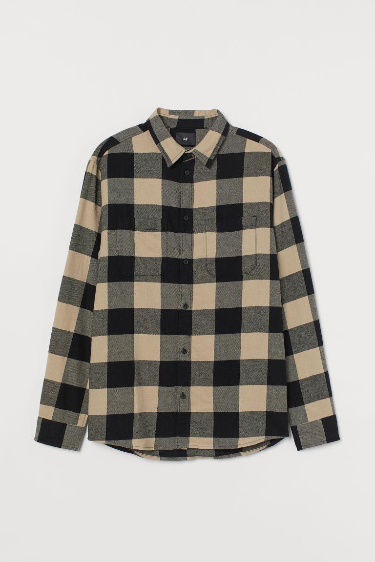 H & M - 棉質法蘭絨襯衫 - 米黃色