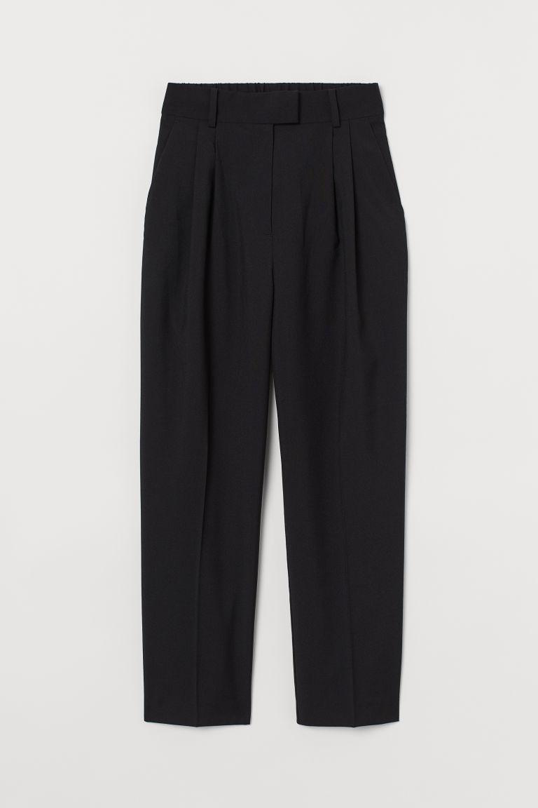 H & M - 褶線長褲 - 黑色