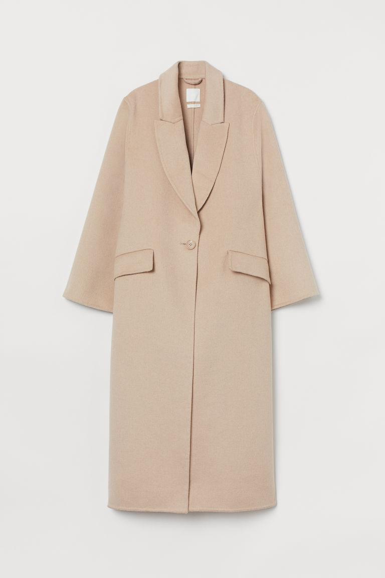 H & M - 加大碼羊毛混紡大衣 - 米黃色