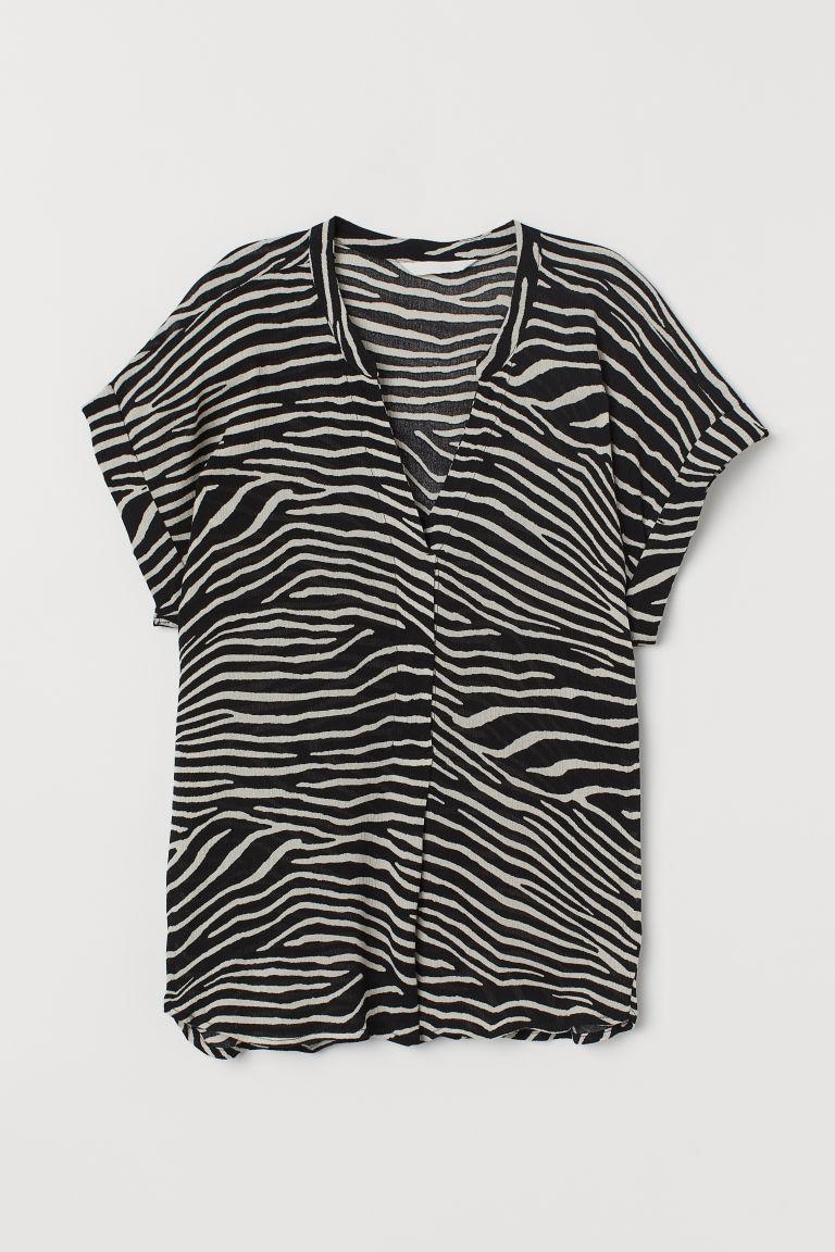 H & M - 褶縐女衫 - 黑色