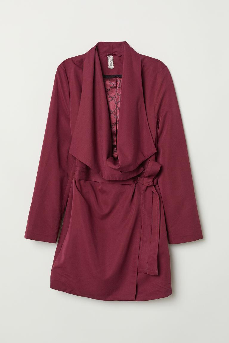 H & M - 垂墜翻領大衣 - 紅色