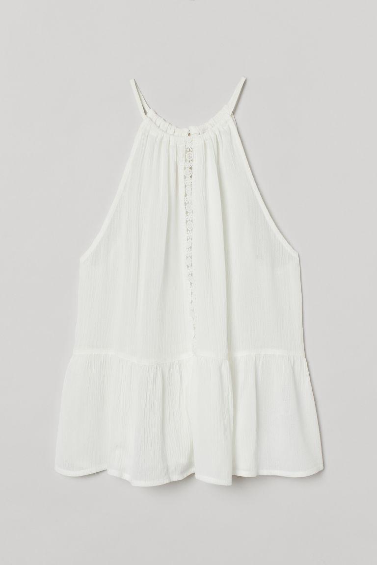 H & M - 褶縐上衣 - 白色